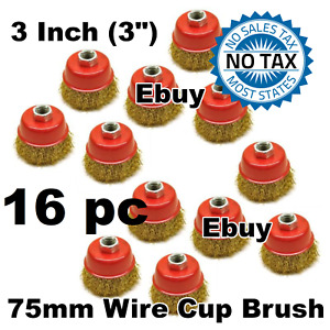 16pc 75mm Crimped Cup Brush Wire Wheel 115mm Angle Grinder Grinding Rust Removal