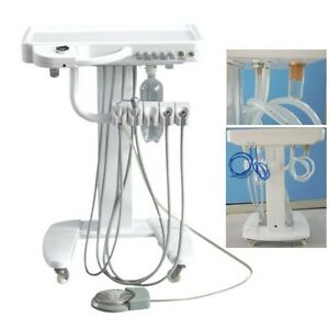Dental Delivery Unit Mobile Cart Work Compressor Portable Treatment System 2hole
