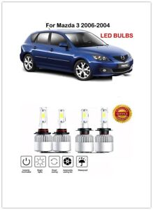 Front H7 9005 Hb3 Led Headlight Kit Power Bulbs Replace For Mazda 3 2006 2004