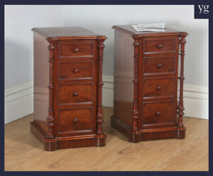 Antique English Victorian Flame Mahogany Bedside Chests Nightstands Cabinets