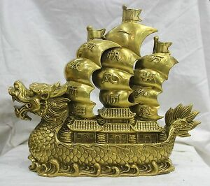 11 8 Chinese Folk Culture Handmade Bronze Statue Statue Smooth Dragon Boat