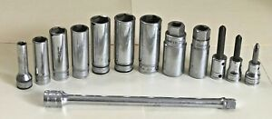 Lot 12 Sockets Bits Extension Snap on Tools Usa 3 8 Phillips Spark Plug
