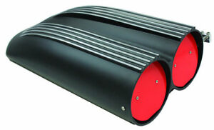 Black Aluminum Finned Top Shotgun Intake Air Scoop Single Dual Carbs