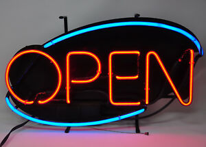 Neon Open Sign 22 X 13 Inch Real Neon Light Made In U s a 10 Ft Cord
