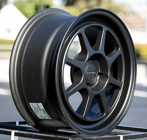 15x7 Rota Hunter 4x100 35 Flat Black Set Of 4