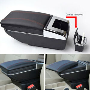 Universal Central Container Armrest Box Pu Leather Storage Case With Cup Holder