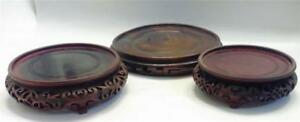Chinese Hand Carved Wood Stand For Vases Or Bowls Lot Of 3