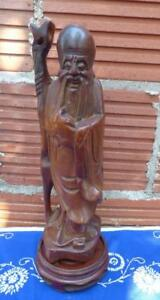 Old Chinese Feng Shui Immortal Wise Man Fuk Luk Sau Carved Boxwood Wood Statue