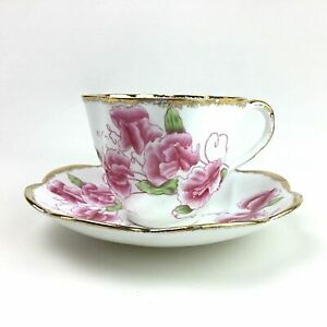 Salisbury Delicate Sweet Pea Flowers Teacup Cup Saucer English China Floral