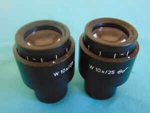 Carl Zeiss W 10x 25 Microscope Eyepiece High Eyepoint Ultra Wide Field