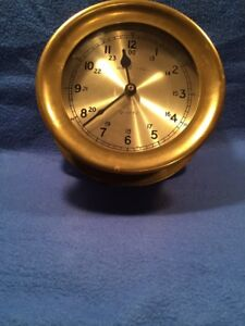 Brass Ships Clock Quarts 7 1 2 X 2 1 2 Inches Deep Works