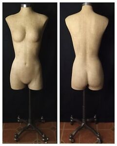 Vintage Jcpenny Female Dress Form Mannequin Dressmaker Rolling Base Display
