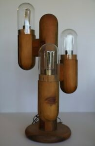 Mid Century Modern Test Tube Cactus Floor Table Lamp Eames Vtg Wood 1970 S 29