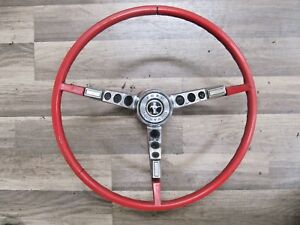 1964 66 Ford Mustang Falcon Steering Wheel Horn Button Pad Nice Original Red