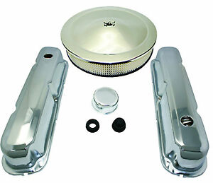 Chrome Sb Mopar Dodge Plymouth Engine Dress Up Kit W Air Cleaner 318 340 360