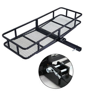 60 Foldable Cargo Hitch Carrier Luggage Rack Mesh Basket Black 500 Lbs
