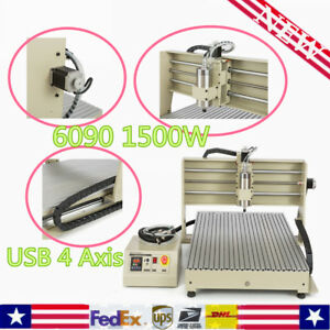 Usb 4 Axis Vfd 6090 1500w Cnc Router Engraver Engraving Milling Drilling Machine