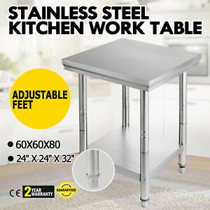 24 X 24 Stainless Steel Kitchen Work Prep Table Cafeteria Storage Space Tool