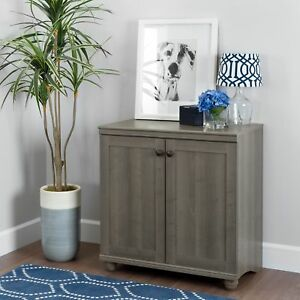 South Shore Hopedale 2 door Storage Cabinet Gray Maple Gray