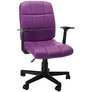 Mid back Purple Task Chairs Quilted Vinyl Swivel With Arms