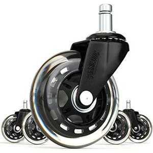 Office 3 inch Casters Inline Skate Style Chair Wheel Replacement Black set Of