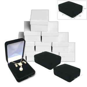 12 Metal Black Velvet Long Earring Box Necklace Jewelry Presentation Gift Box
