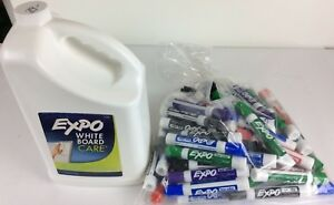 New Expo White Board Care Cleaner Gallon 60 Dry Erase Markers Lot Free Shipping