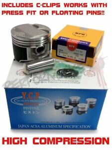 Custom Ycp B20 84mm High Compression Pistons W Npr Rings Cclips B20b B20z Crv