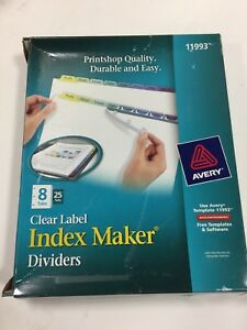 Avery Index Maker Clear Label Color Dividers 8 tab 25 Sets Per Box ave11993
