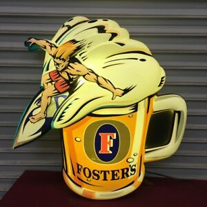 Kcs Fosters Surfing Beer Sign Lighted Bar Tavern Man Cave 5527 Light Commercial