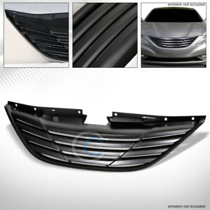 Fits 10 13 Hyundai Sonata Matte Black Horizontal Front Hood Bumper Grill Grille
