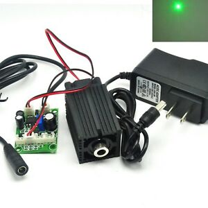 100mw 532nm Green Focusable Dot Long work Laser Diode Module Driver 12v Adapter