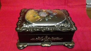 Antique Black Lacquer W Mother Of Pearl Inlays Jewelry Trinket Box