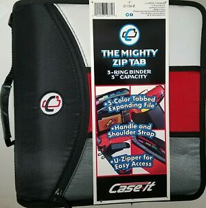 Case it Zipper Mighty Zip Tab 3 Binder 3 O Rings 5 Color Expanding File New