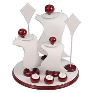 Ultra Modern Showcase Display Combo Jewelry Display Stand White W Rosewood Trim