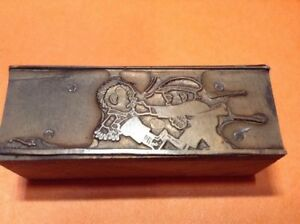 Vintage Copper On Wood Printing Block Old School Tough Guy Knuckle Sandwich