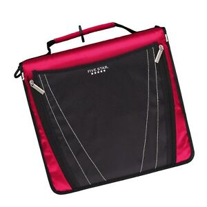 Five Star 2 Inch Zipper Binder Expanding Pocket Durable Red 73299