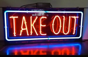 Neon Sign take Out Restaurant 1594 Bar Tavern Man Cave Pub Display Light