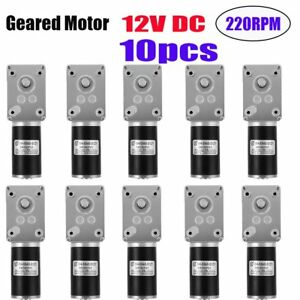 10x 12v Dc220rpm Angle Gear Motor Small Worm Reducer Geared Motor Reversible Tg
