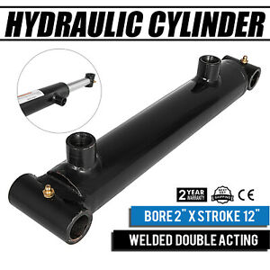 Hydraulic Cylinder 2 Bore 12 Stroke Double Acting Black 3000psi Construction