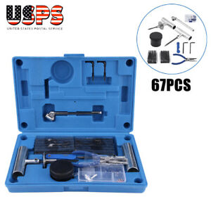 67pcs Tire Repair Tools Kit To Fix Tubeless Punctures And Plug Heavy Duty Set Us