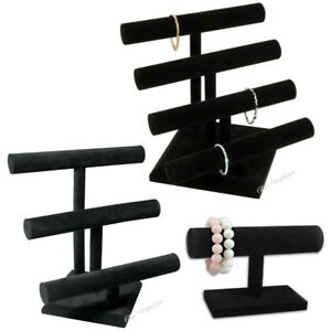 Set Of 3 Black Velvet Bracelet T bars Necklace Display Stands Showcase Jewelry