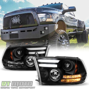 Blk 2013 2018 Dodge Ram 1500 Led Signal Drl Tube Projector Headlights Headlamps
