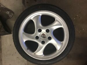 Porsche 986 Boxster S Turbo Rear Wheel Rim 99336213801 18x9 Cayman 911 Nice Tire