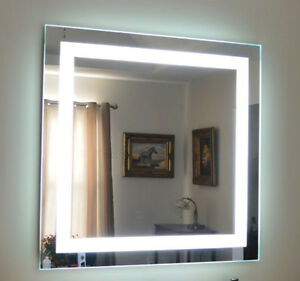 Front lighted Led Bathroom Vanity Mirror 48 X 48 Rectangular Wall mounted