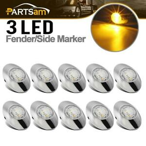 10x Chrome Yellow Led Side Marker Clearance Lights 3 5730 smd 3 X 2 Clear Lens