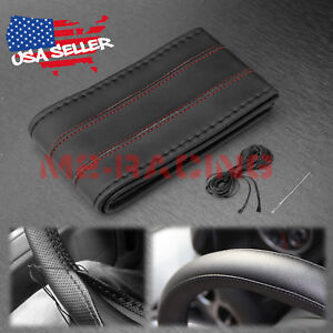 Black Red Line Pvc Leather Diy Car Steering Wheel Cover With Needles And Thread