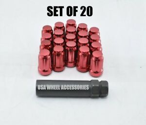 20pc 12x1 5 Thread Lug Nuts With Key Cone Seat 1 38 Closed End Red Steel Spline