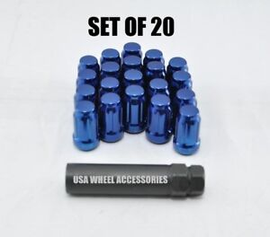 20pc 12x1 25 Thread Lug Nuts W Key Cone Seat 1 38 Closed End Blue Steel Spline