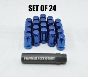 24pc 12x1 5 Thread Lug Nuts W Key Cone Seat 1 38 Closed End Blue Steel Spline